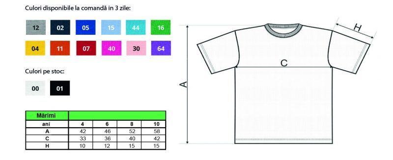 Marimile pentru tricourile clasice pentru copii